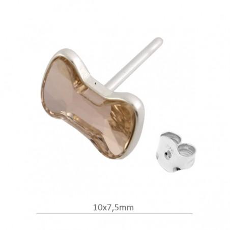 ee3273b40286 Pendientes lazo en plata de ley con cristal de Swarovski. Vintage Rose
