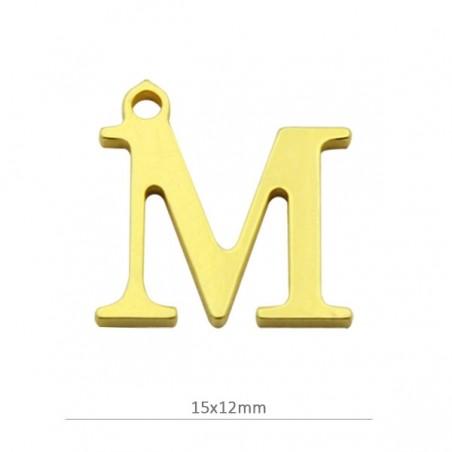 modelado duradero calidad real venta de tienda outlet Colgante letra M 15mm. Baño oro