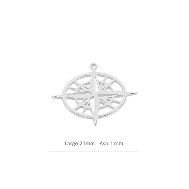 tienda de liquidación e75f1 220b0 Colgante brújula de 21 mm en plata de ley