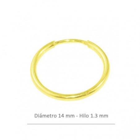 c113ba101e3a Pendientes de aro en baño oro de 14 mm